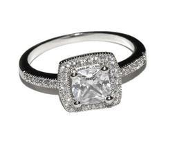 Dainty Square Pave Clear AAA Cubic Zirconia CZ Halo Ring-Rhodium Plated - $22.00