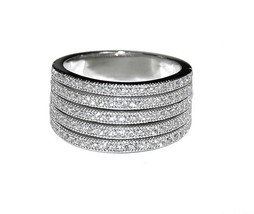 Glitzy Pave Wide 5 Row Clear AAA Cubic Zirconia Band Ring-Rhodium Plated - $39.99
