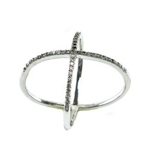 Pave Clear AAA Cubic Zirconia Open X Ring-Rhodium Plated - $19.99