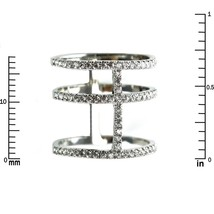 Pave Clear Cubic Zirconia Open Triple Row Knuckle Ring-Rhodium Plated - $29.99