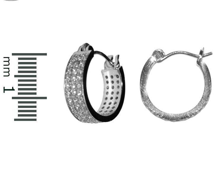 Dainty-Children-Babies Pave Triple Row All Around AAA CZ  Rhodium Hoop Earrings