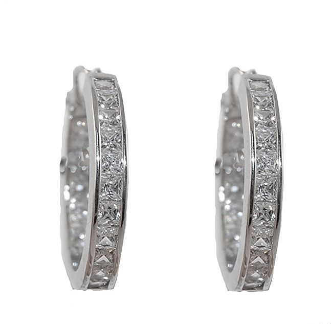 GLITZY PRINCESS CUT CLEAR insideout CUBIC ZIRCONIA HOOP EARRINGS-4mm by 25mm