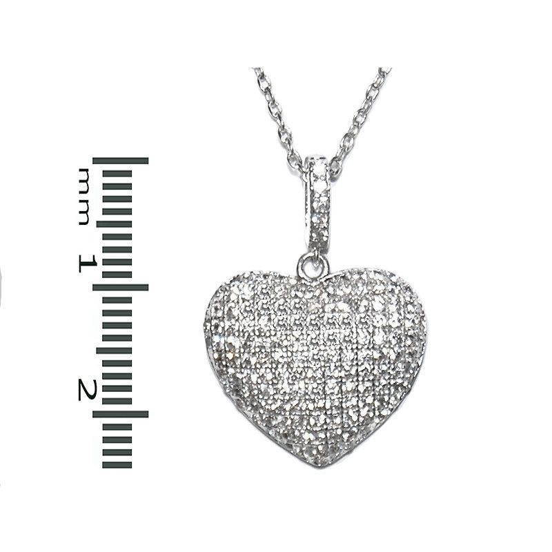 Glitzy Pave Encrusted  Puffed Heart Clear AAA Cubic Zirconia Rhodium Necklace