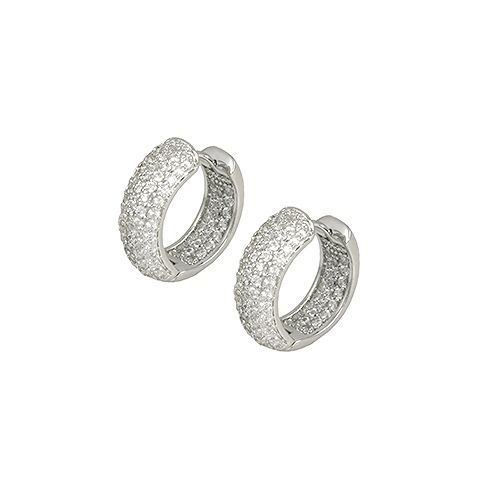 Pave Encrusted Wide Dome Front AAA Cubic Zirconia In+Out Rhodium Hoop Earrings