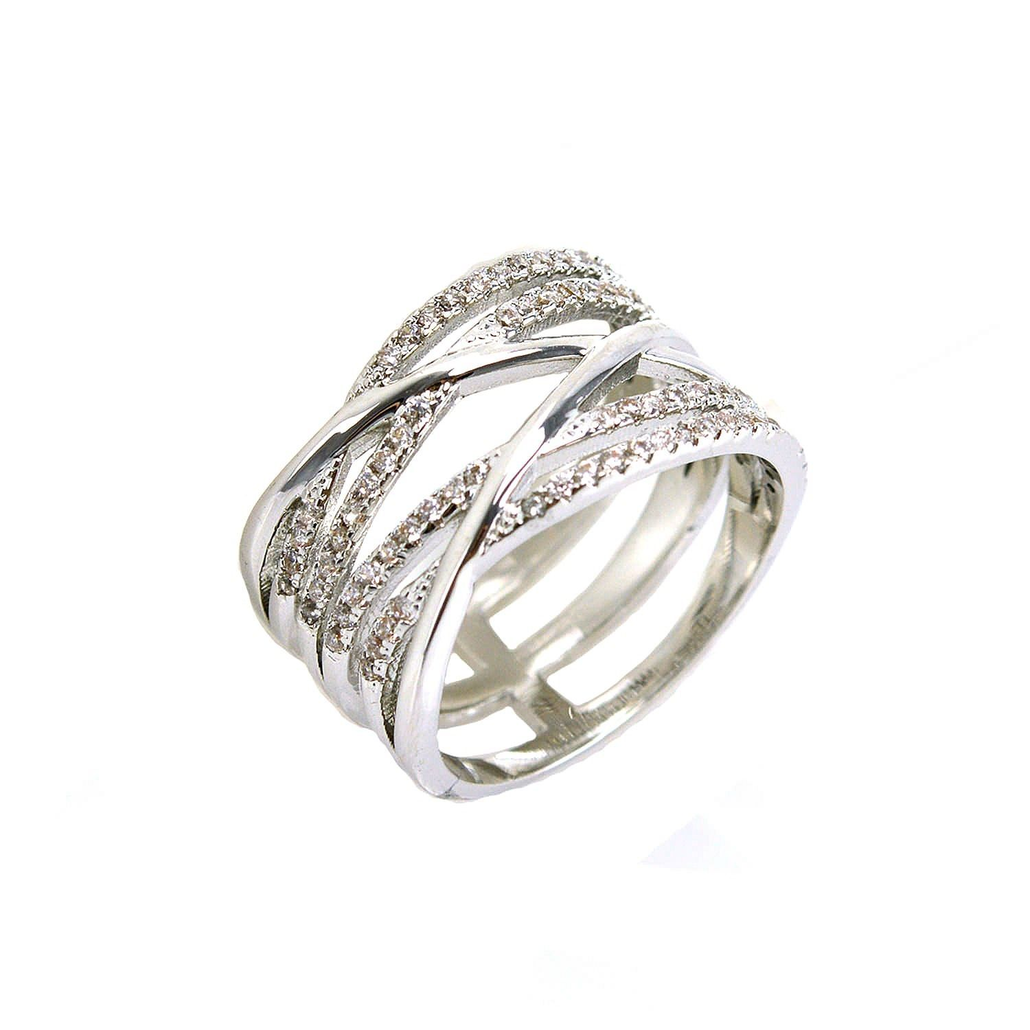 Casual Pave Clear AAA Cubic Zirconia Open Style Stack Ring-Rhodium Plated