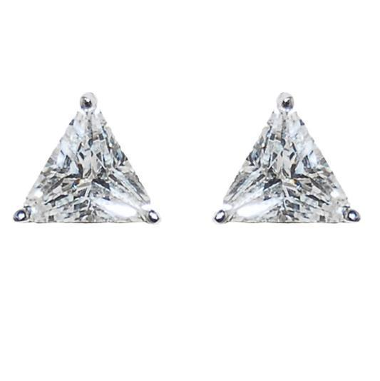 TRIANGLE SHAPE CLEAR CUBIC ZIRCIONIA  STUD EARRINGS 6MM OF BLING