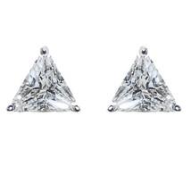 Triangle Shape Clear Cubic Zircionia  Stud Earrings 6 Mm Of Bling - $8.91