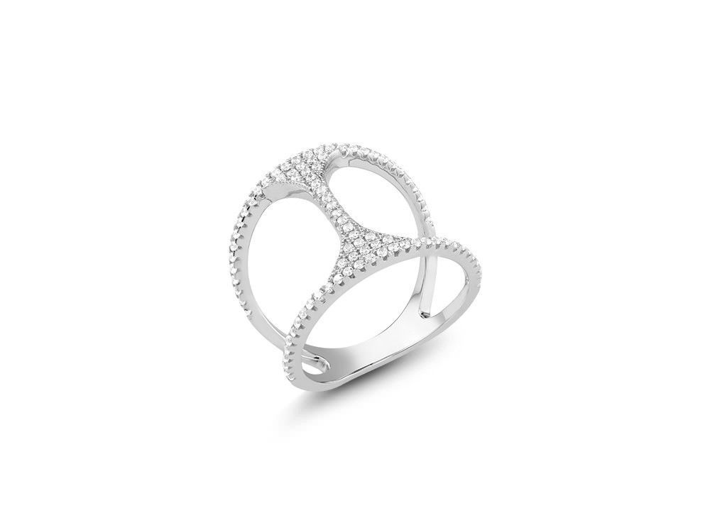 14K WHITE GOLD VERMEIL Pave Artsy Open 5A Cubic Zirconia Knuckle Ring-925