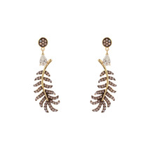 18K Y VERMEIL-Tear Drop CZ + Genuine Rose Opal Feather Drop Dangle Earri... - $79.19