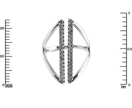 Pave Clear AAA Cubic Zirconia Open Line Knuckle Ring-Rhodium Plated-AJUST - $22.00