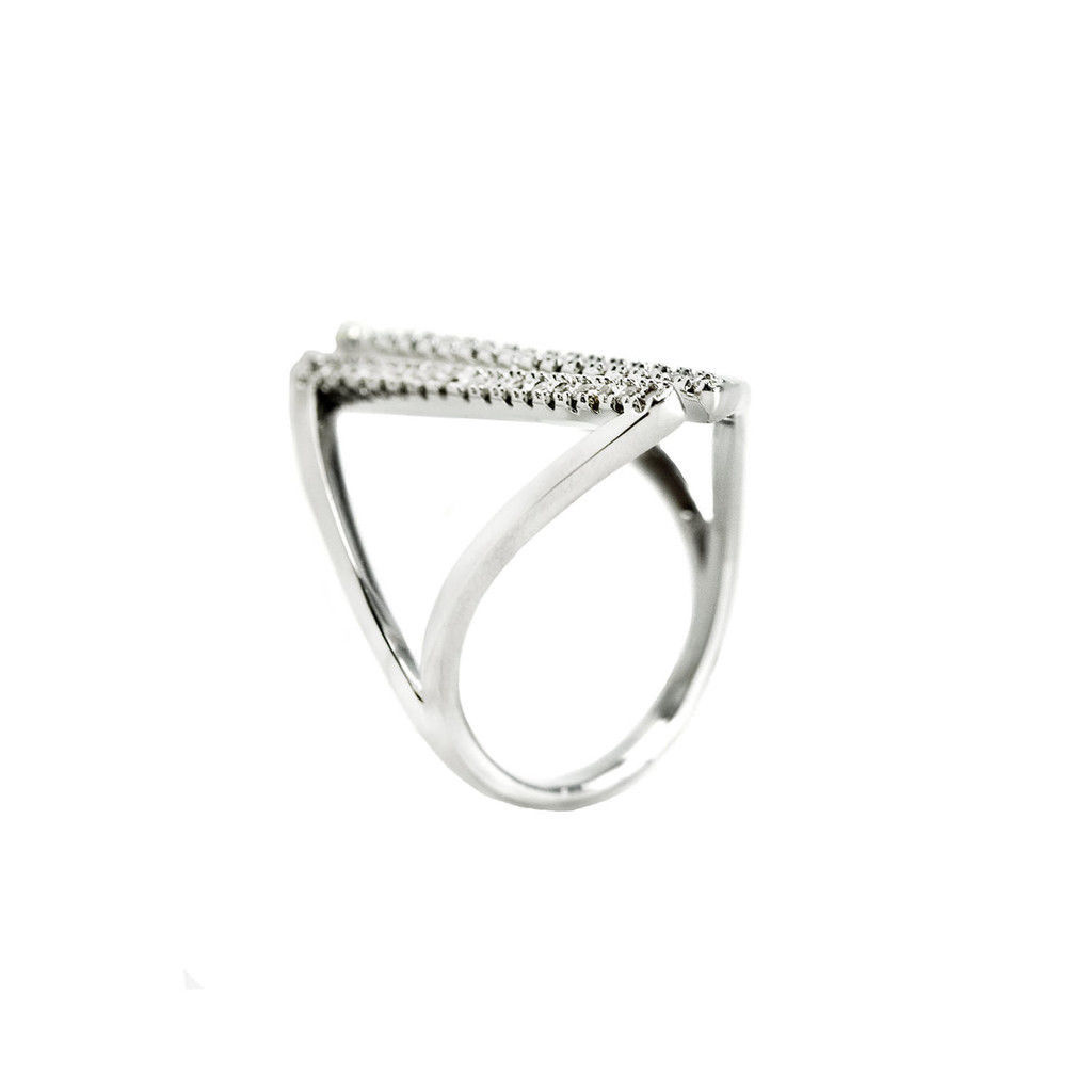 Pave Clear AAA Cubic Zirconia Open Line Knuckle Ring-Rhodium Plated-AJUST