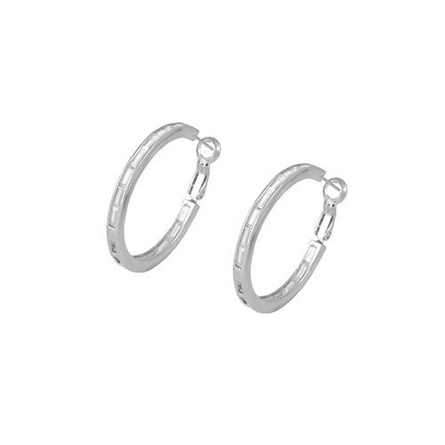 Baguette InsideOutside Rhodium Plated AAA CZ Hoop Earrings With Omega Backs