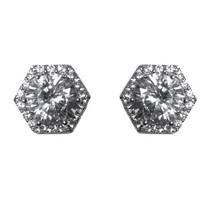 Pave Hexagon Halo Cubic Zirconia Rhodium Stud Earrings 10 Mm Of Bling - $24.74
