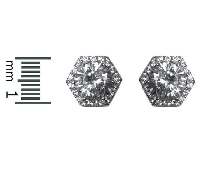 PAVE HEXAGON HALO CUBIC ZIRCONIA RHODIUM STUD EARRINGS 10MM OF BLING