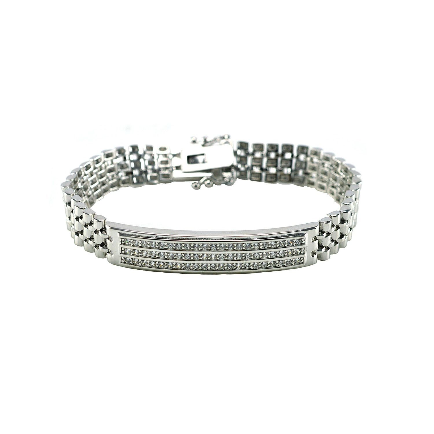 Pave Triple Row Clear AAA Cubic Zirconia Panther Link Bracelet-Glitzy