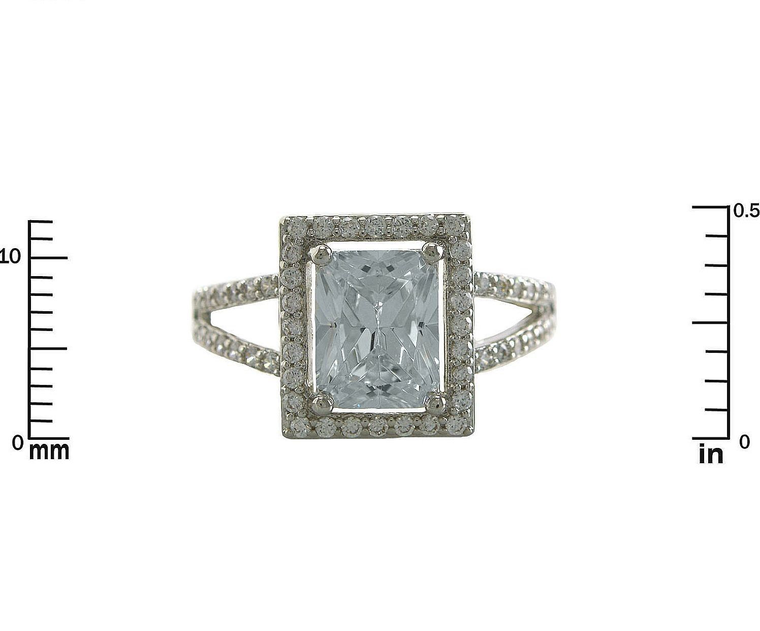 Glitzy Pave+ Radiant Emerald cut AAA Cubic Zirconia Framed Halo Rhodium Ring