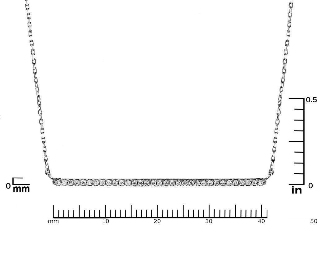 Pave AAA  Cubic Zirconia 40mm Bar Rhodium Plated Pendant Necklace