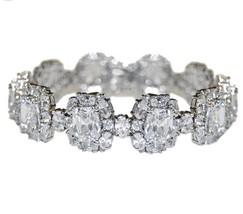 Chunky Mixed Stone Cluster Cubic Zirconia Tennis Bracelet Bridal - $128.69