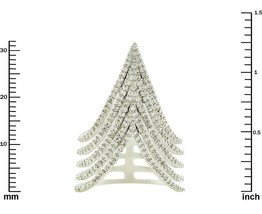 Glitzy Pave AAA Cubic Zirconia 5 Row Chevron Style Rhodium Knuckle Ring-32mm - $49.99