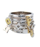 Two Tone Stacked Rhodium & 14K Gold Plated Charm Dangle Band Ring-BEST S... - $19.99