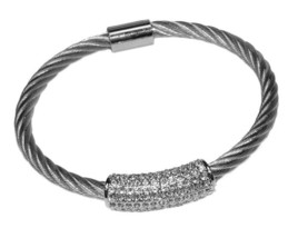 Pave Dome Barrel Clear AAA Cubic Zirconia Stackable Rhodium Bangle Bracelet - $24.74