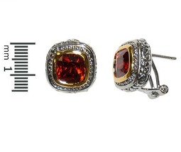 Casual Antique TwoTone Ruby Red Cubic Zirconia Omega Back Earrings - $14.84