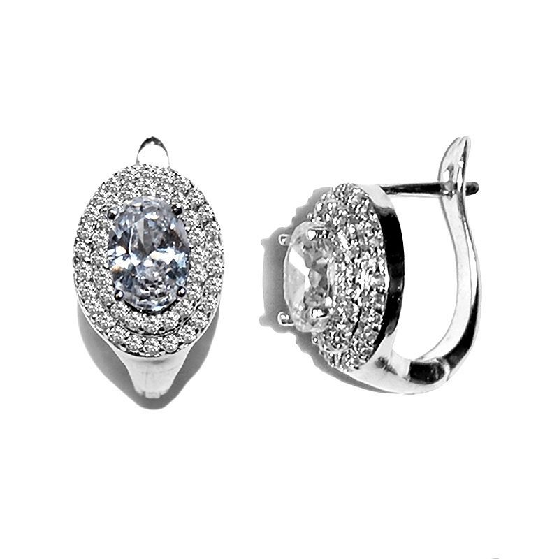 DOUBLE PAVE HALO & CLEAR OVAL CUBIC ZIRCONIA HOOP EARRINGS 17MM  BRIDAL