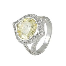 Pave Clear And 11mm Center Yellow Canary AAA CZ Fancy Halo Rhodium Ring 20 By 15 - $34.99