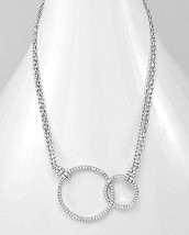 14K WHITE GOLD VERMEIL Pave Open Style Connecting Circles CZ Necklace-92... - $89.09