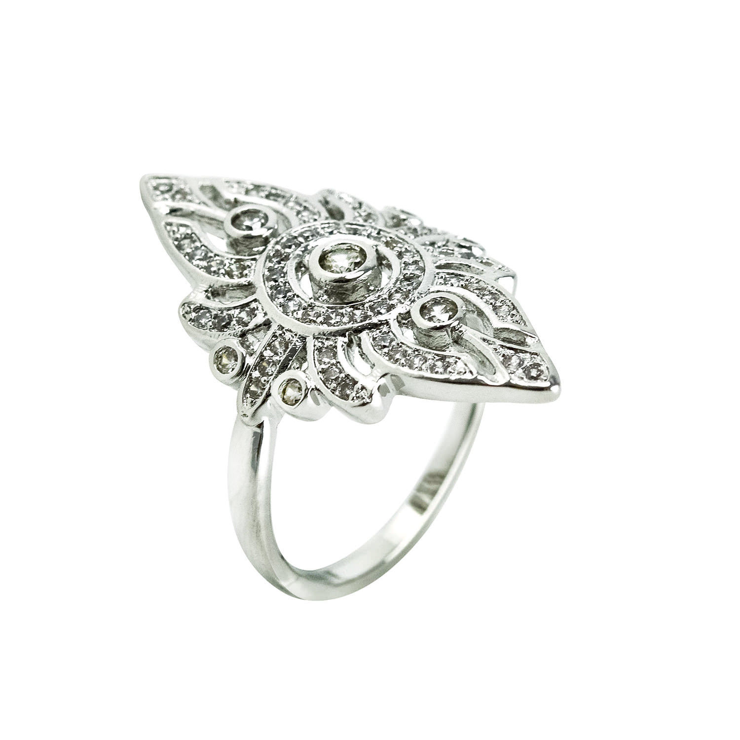 Glitzy Pave AAA Cubic Zirconia Filligree Style Rhodium Knuckle Ring