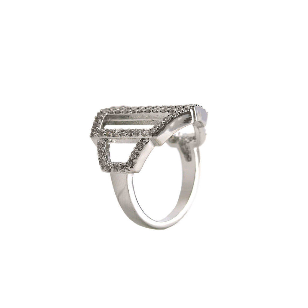 Pave Clear AAA Cubic Zirconia Accented Knuckle Adjustable Ring-Rhodium Plated