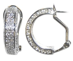 MICRO PAVE 3 SIDED  CLEAR CUBIC ZIRCONIA HOOP OMEGA-FRENCH BACK EARRINGS... - $39.59