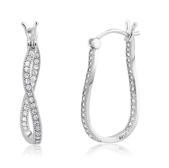 18K WHITE GOLD VERMEIL Dainty Pave Insideout  5A Cubic Zirconia Hoop Earrings