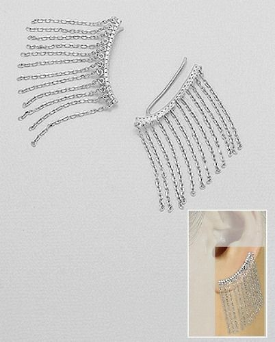 14K WHITE VERMEIL AAA CZ Pave Bar And Chains Ear Cuff Pin Earrings-SS/925