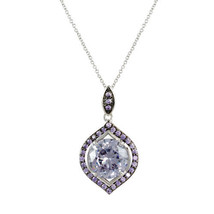 Pave Amethyst And 11mm Lavender AAA CZ Fancy Halo Rhodium Necklace 20 By 16 - $29.69