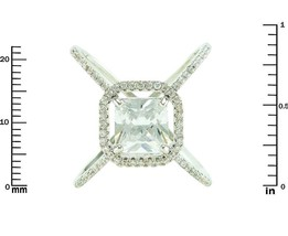 Pave Clear AAA Cubic Zirconia Princess Cut Open Halo X Ring-Rhodium Plated - $29.99