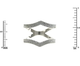 Glitzy Pave AAA Cubic Zirconia Double  Row Open Style Rhodium Knuckle Ring - $34.99