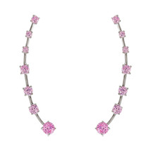 18 K White Gold Vermeil Dainty Pink  5 A Cz Adjustable Pin Crawler Earrings 925 - $41.58