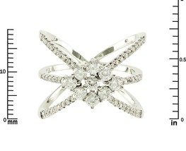 Pave Clear AAA Cubic Zirconia Cluster Open Triple X Knuckle Ring-Rhodium Plated - $29.99