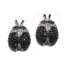 Big Micro Pave Back & Clear Ladybug Cz Stud Earrings 21 Mm - $58.41
