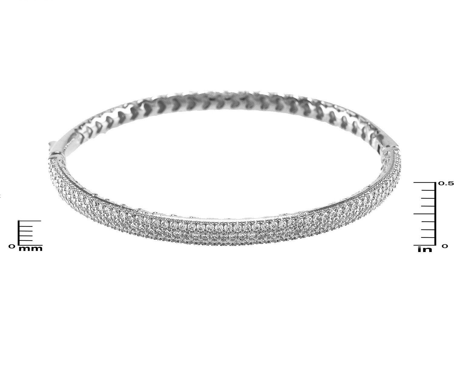 Glitzy Pave AAA Cubic Zirconia Dome Shape Textured Rhodium Bangle Bracelet