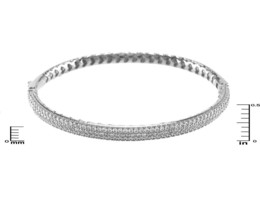 Glitzy Pave AAA Cubic Zirconia Dome Shape Textured Rhodium Bangle Bracelet - $59.39