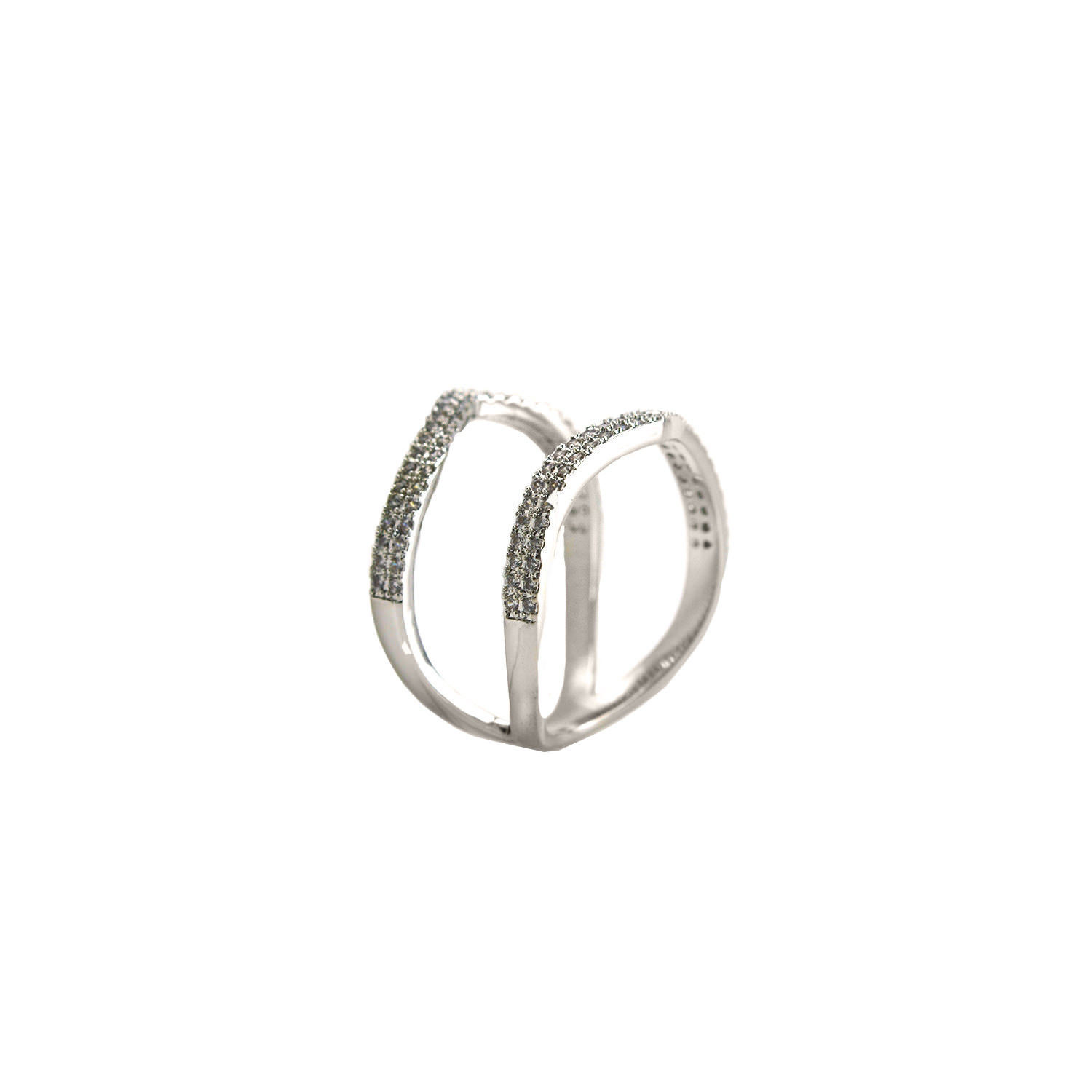 Glitzy Pave AAA Cubic Zirconia Double  Row Open Style Rhodium Knuckle Ring