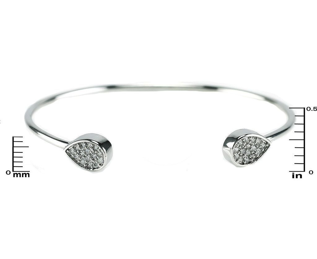 Pave AAA Cubic Zirconia Teardrop Wire Pinch Bangle Bracelet -Casual