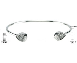 Pave AAA Cubic Zirconia Teardrop Wire Pinch Bangle Bracelet -Casual - $19.79