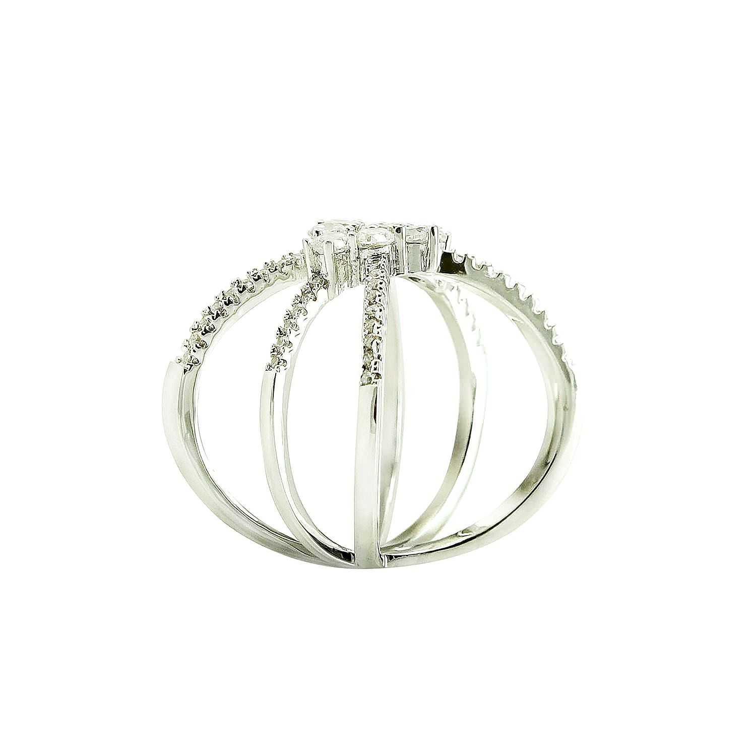 Pave Clear AAA Cubic Zirconia Cluster Open Triple X Knuckle Ring-Rhodium Plated