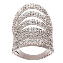 14 K White Gold Vermeil 7 Row Pave Open Scoop Stack Dome Cz Knuckle Ring Band 925 - $129.00