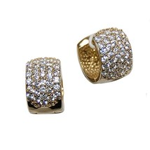 Pave Wide Front GEP AAA Cubic Zirconia Huggie Hoop Earrings - $600,18 MXN