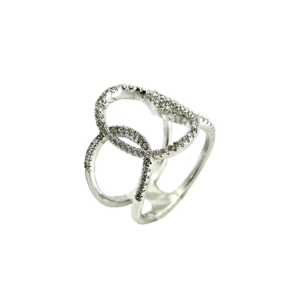 Glitzy Pave Clear AAA CZ Open Endless Circle Knuckle Ring -Rhodium Plated