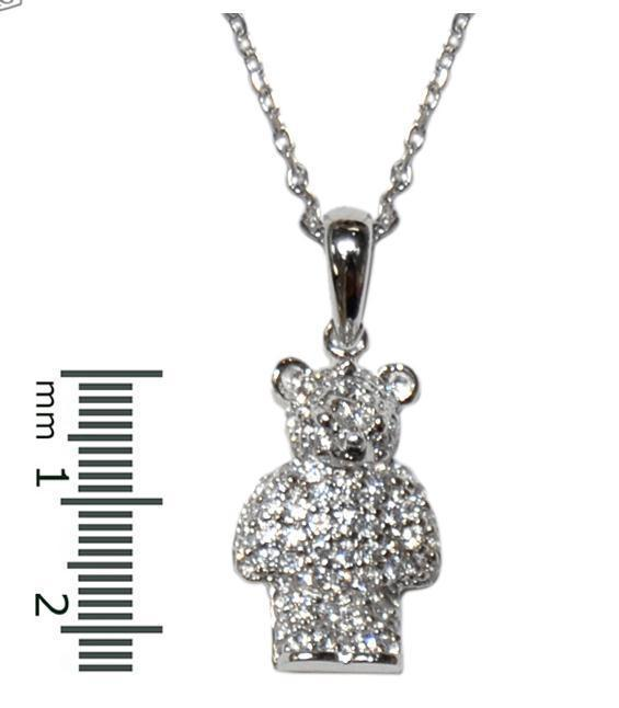 Dainty Childrens Pave Teddy Bear Clear Cubic Zirconia Rhodium Pendant Necklace
